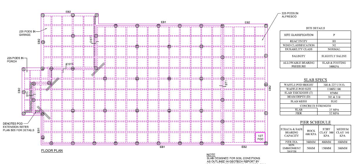 Ground floor slab design example waffle slab construction for Concrete slab plans